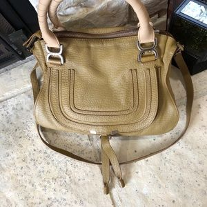 Chloe Marcie Satchel Bag Green and Beige